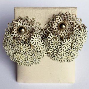 Vintage 1950s Rhinestone Filigree Clip On Earrings